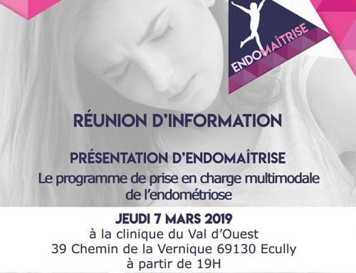 Nouvelle réunion d'informations sur le programme ENDOMAÎTRISE le 7 mars 2019